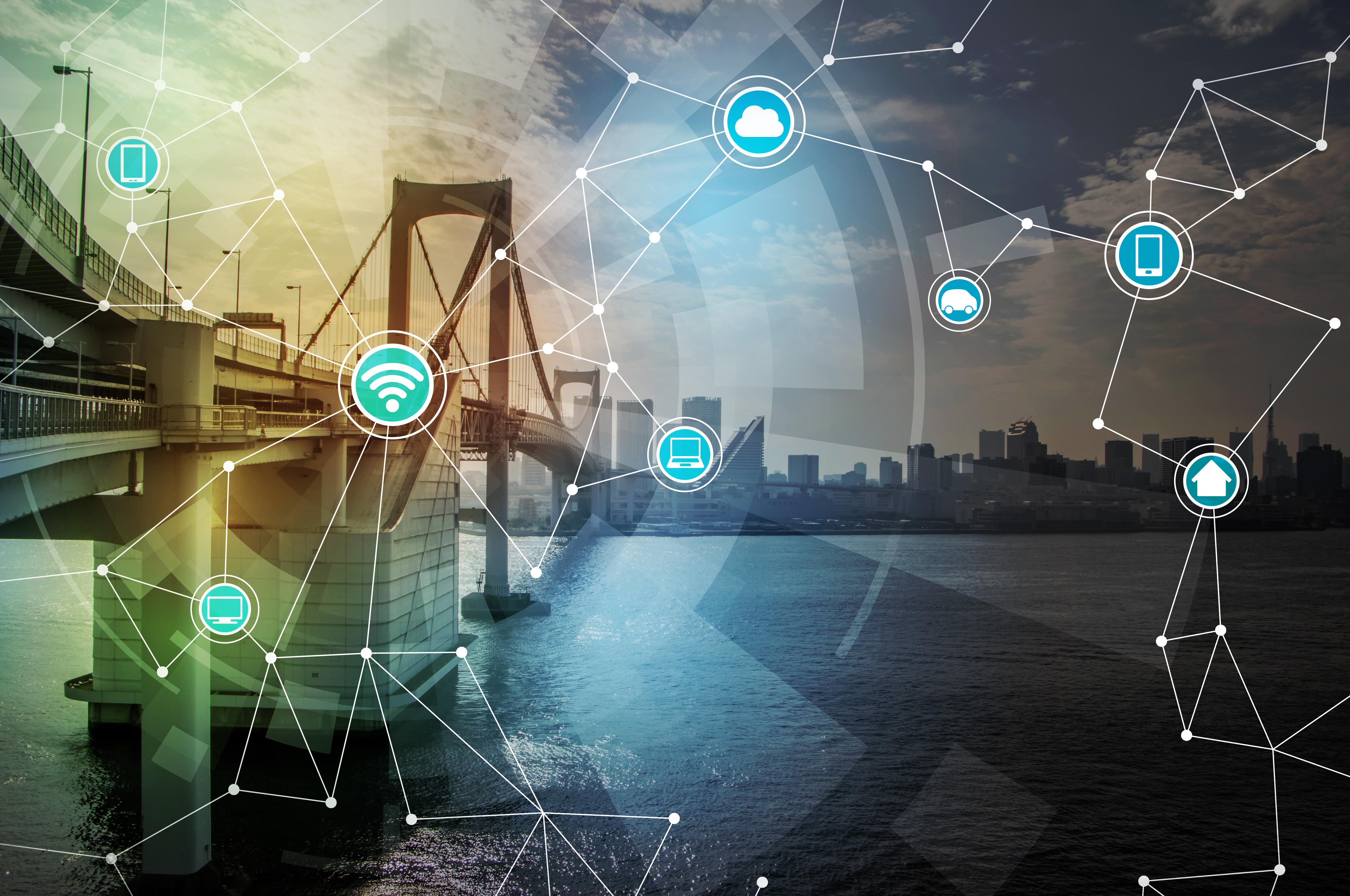 smart city and bridge, wireless communication network, internet of things